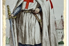 Jacques de Molay (1243-1314) 23e et dernier Grand Maitre de l'ordre des Templiers, il meurt brule a Paris sur ordre de PhilippeLeBel en 1314 qui voulait s'emparer du tresor des Templiers, gravure par Chevauchet (19esiecle)  ---  Jacques de Molay (1243-1314) 23th and last Master of Knights Templar, he was burnt by king PhilippeLeBel in 1314 who wanted the treasure of Templars, engraving by Chevauchet (19thcentury)